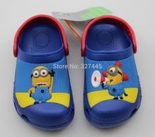 envío libre 2013 nuevo lindo de dibujos animados en 3D los niños Despicable Me obstruyen bebé zapatillas sandalia zapato para niños y niñas al por mayor planas(China (Mainland))