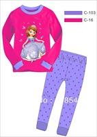 "FREE SHIPPING new ""Caluby"" girls autumn-summer lycra pajamas children clothing sets girls sleeping wear princess sofia pyjamas"