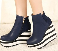 Fashion Forward Winter Ankle Boots Women's Wedge Heel Boot Shoes,Sexy Stripe Wedges Heels Shoe In Blue Black Colors euro 35-39