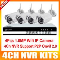 HD 4CH NVR Kit with 4PCS 720P Megapixel IR Wifi Mini IP Camera Onvif CCTV NVR System Wifi Wireless IP Camera Kit