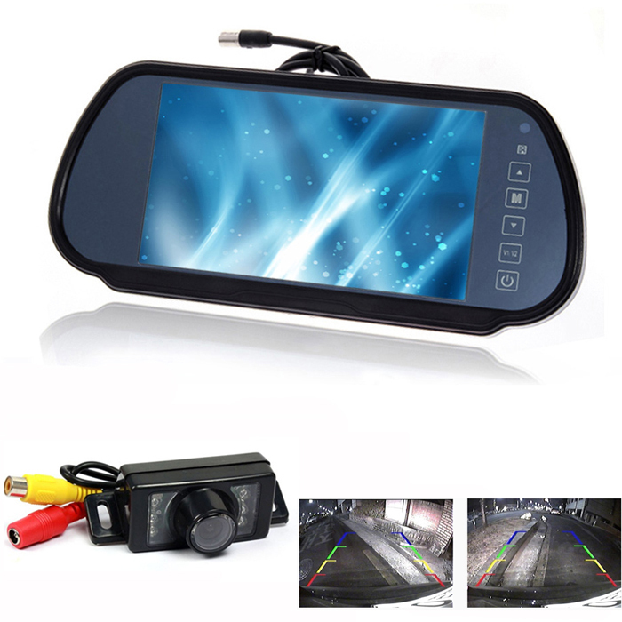 """HD 7"""" LCD car Mirror Monitor parking sensor DVD/VCD/GPS/TV Screen + 6 LED waterproof General car rear view Camera Night Vision(China (Mainland))"""