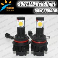 Free shipping 9007 LED Headlight High Power Car front Headlight set 5000K 50W LED Headlight 1800LM with Cree CXA1512 chip