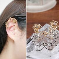 2014 New Fashion Gold Silver Metal Flower U-shaped ear deduction no pierced ears clip earrings For Women Jewelry
