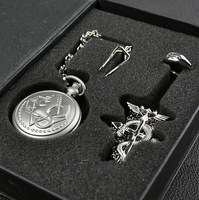 Wholesales New Fashion Cosplay Fullmetal Alchemist Pocket Watch + Necklace + Ring Set Freeshipping