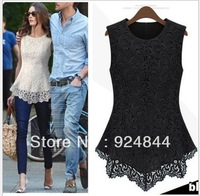 2013 Spring Summer New Fashion Women Lined 100% Cotton Lace European American Sexy Sleeveless tops dress Free Shipping