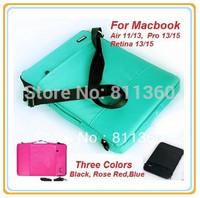 High Quality Brand Handbag, Message Sleeve Bag Case For Macbook Air 11/13 Pro 13/15 Retina 13/15, 3 Colors,Drop Free Ship