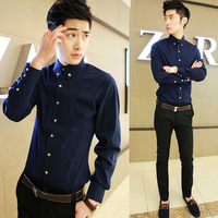 2014 Spring Mens shirts gold buckle decorated Korean men's fashion long-sleeved shirt Slim shirt M--XXL