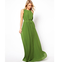 Women's 2014 New Fashion Ladies Green Sleeveless Summer Spring Maxi Dress Full Dress Sexy Dress Vestidos Chiffon Dresses 6183