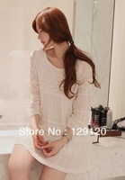 2013Beautiful fairy lace elegant decorative pattern patchwork shirt long-sleeve chiffon one-piece dress