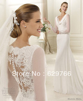 2014 New Sexy A Line Long Sleeves Lace Applique Chiffon Wedding Dresses Bridal Gown Custom Size