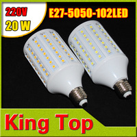 2014 NEW  220V E27 5050 102LEDs Warm White White 20W Led Light CREE SMD High Power Super Bright E27 Corn  Bulb Lamp  2pcs/Lot