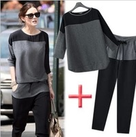 2013 EPIC SALE New Women Color Block Chiffon Loose Round Neck Three Quarter Sleeve Casual Set Tops+Pants Free Shipping 8111