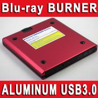 50pcs WHOLESALE - USB 3.0 Aluminum Blu-ray Writer Burner Reader Copier Rewriter BD-R BD-RE BD-BE BD-ROM DVD+/-RW CD+/-RW Drive