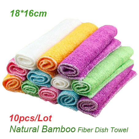 Popular Multi Color Natural Bamboo Fiber Dish Towels 18*16cm Environmental Multi Function Kitchen Towels Magic Dish Cloth(China (Mainland))