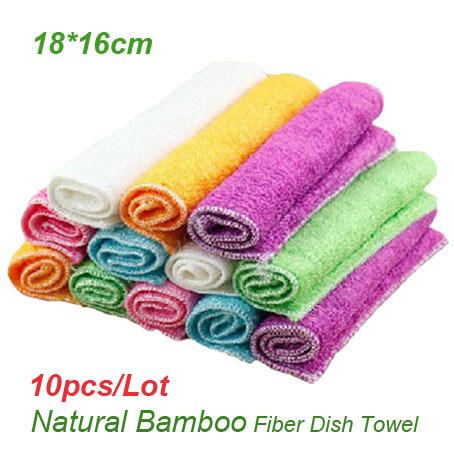 Popular Multi Color Natural Bamboo Fiber Dish Towels 18*16cm Environmental Multi Function Kitchen Towels Magic Dish Cloth(China (Mainland))