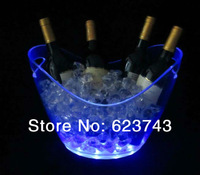 Free Shipping plastic led ice bucket SL-LIC03B,color changing plastic ice bucket, luminous ice pail ice cooler,glow Beer cask