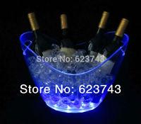Free Shipping plastic led ice bucket SL-LIC03B,color changing plastic ice bucket, luminous ice pail ice cooler,glow Beer cask