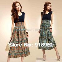 new sale 2014 summer floral print dress women's sundress/Bohemia sleeveless vintage empire waist long breach dress/WTB