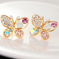 2pairs fashion rhinestone butterfly stud earrings butterfly crystal earring (3 kinds different jewelry free shipping)