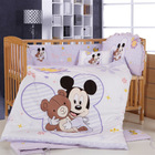 Promotion  branded item 100% cotton 7 pieces cartoon mickey minnie mouse environment-friendly printing baby crib bedding set(China (Mainland))