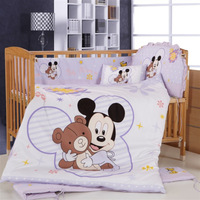 Promotion  branded item 100% cotton 7 pieces cartoon mickey minnie mouse environment-friendly printing baby crib bedding set