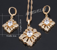 Elegant fashion Wedding Set 18k yellow gold plated White Crystal AAA Zirconia Jewelry Sets Earrings Necklace Pendants JS054