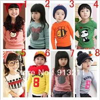 Retails. Promotion korean style print Tee shirt 100% cotton children t shirts autumn -summer kids long sleeve t shirt
