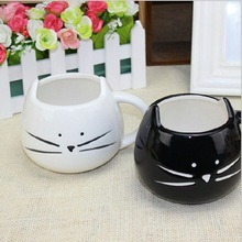 Lotion cup black and white cat animal cup glass ceramic lovers mug cup(China (Mainland))