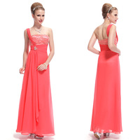 HE09985CO One Shoulder Sequined Bust Watermelon Red Chiffon Party Dress