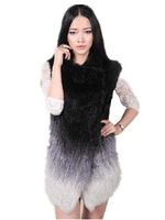 2013 New Fashion Natural Fur Vest  Autumn Genuine Rabbit Fur Winter Women Knitted Rabbit  Furs Jacket