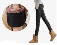 Women Winter Fleece Warm Pants Plaid Design Cotton Rich Fleece Made Material Two Colours Plus Size S-2XXL