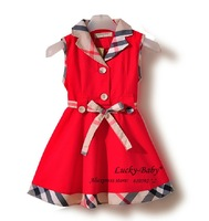 Retail new 2013 baby dresses clothing girl fashion plaid design children summer dress one piece skirt suit for girls clothes