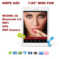 3G phone call tablet 7.85inch Ampe A80 Qualcomm MSM8625 Quad Core 1.2GHz 1GB RAM 16GB ROM 8.0MP bluetooth OTG 1024*768 android