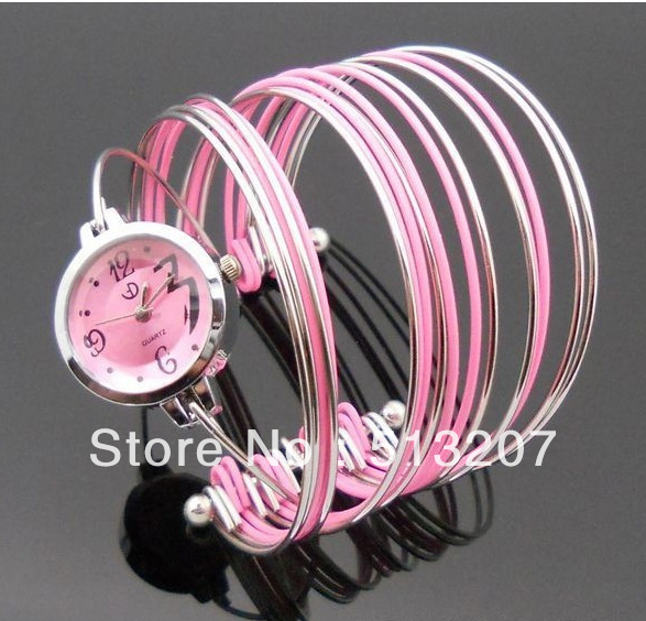 Silver Charm Bracelets Gold Plated Bangle Girls Luxury Women's Watches Lady Jewelry Women Alloy Cuff 5pieces/lot(China (Mainland))