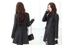 Free Shipping 2013 Woman New Fashion Women's Slim Wool blended Double-breasted Coat Winter Gray/black S-XL