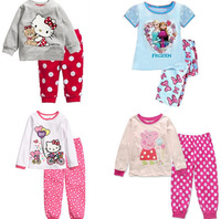 2014 Kids Clothes Sets Minnie hello kitty set girls long-sleeve t shirt pants kids pajama sets winter children hoodies frozen