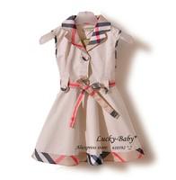 Retail new 2014 girl's fashion spring-summer plaid princess dresses sleeveless dress baby girls clothing Fast shipping