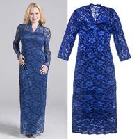 2014 Spring High-end Floral Print Lace Dress Woman Long Sleeve Formal Blue Maxi Dress Emboridery Sheath Evening Dress Big Size
