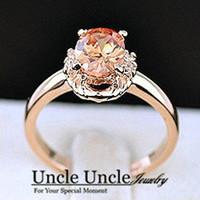 18K Rose Gold Plated Austrian Crystal Champagne Erstwhile Memory Design Lady Finger Ring Wholesale