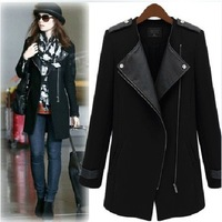 2014 New Winter/Fall High Quality Fashion Women Casual Black Contrast PU Leather Trims Oblique Zipper Coat, Free Shipping!