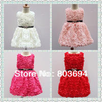 retail  2014 girls' party dress , rose dress ,girls'  dress with belt 1128