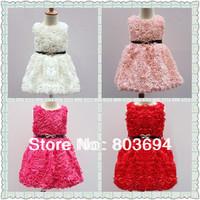 retail  2014 girls' party dress , rose dress ,girls'  dress with belt 1128