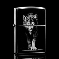2014 hot sale New Wolf pattern metal windproof flame cigarette oil lighters novelty gadgets