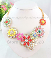 (Min order $10,Mix Order ) Fashion Candy Color Flower Chunky Choker Necklaces Crystal Statement Necklace
