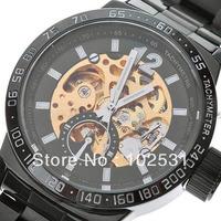 New Fashion & Luxury IK Brand Skeleton Dial Automatic Mechanical Men's Army Military Black Steel Wrist Watch