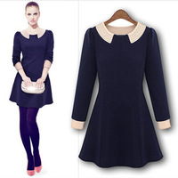 Fashion women's  peter pan collar pearl long-sleeve gentlewomen  one-piece dress Women's Clothing