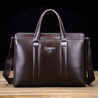 100% GENUINE LEATHER business bag briefcase male big capacity laptop bag male leisure men's bag