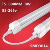 Free shipping t5 25pcs T5 led tube 600mm led tube 2ft 8w 600-800lm 3pin 85-265v led fluorescent lamp tube Hot selling