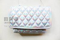 New Arrival Laser Handbag Silver Color Shoulder Bag Laser Phone Bag PU Hologram Laser Day Clutch Bag