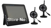 "Digital Security System 2.4Ghz  7"" LCD transmission distance up to 300m wireless video surveillance kit"
